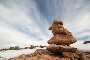 A cairn marks a trail in Canyonlands: Islands In The Sky National Park on Wednesday, Feb. 20, 2013.