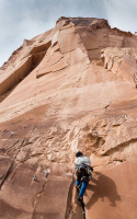 Hugo Bowman climbs a 5.10 difficulty crack on Wall Street outside of Moab, UT, on Thursday, Feb. 21, 2013.