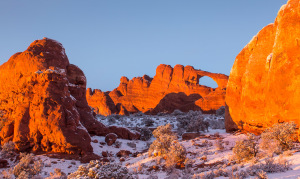 Sunset washes over Skyline Arch in Arches National Park, UT, on Saturday, Feb. 23, 2013.