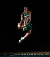 Jewell Loyd flies to the basket during a video shoot for Media Day on May 23, 2016. (Neil Enns/Storm Photos)