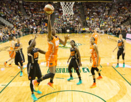 The Los Angeles Sparks's Nneka Ogwumike gets the layup during the 2017 WNBA All-Star Game on July 22, 2017. Ogwumike finished with 22 points and six rebounds. (Neil Enns/Storm Photos)